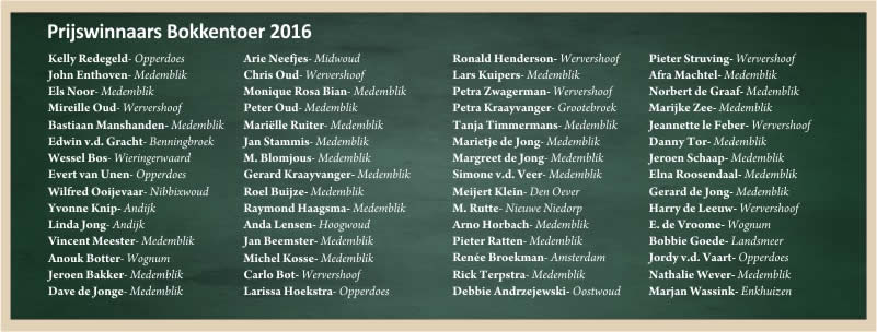 Prijswinnaars Bokkentoer 2016